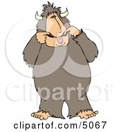 Bigfoot Man Making A Funny Face Clipart