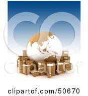 Royalty Free RF 3D Clipart Illustration Of A Cardboard Globe Surrounded By Shipping Boxes Version 1 by Frank Boston