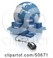 Royalty Free RF 3D Clipart Illustration Of A Globe With Boxes And A Computer Mouse Version 3