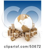 Royalty Free RF 3D Clipart Illustration Of A Cardboard Globe Surrounded By Shipping Boxes Version 3