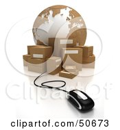 Royalty Free RF 3D Clipart Illustration Of A Globe With Boxes And A Computer Mouse Version 4
