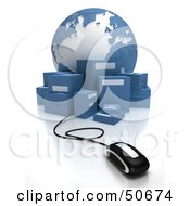 Royalty Free RF 3D Clipart Illustration Of A Globe With Boxes And A Computer Mouse Version 1