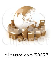 Cardboard Globe Surrounded By Shipping Parcels Version 6