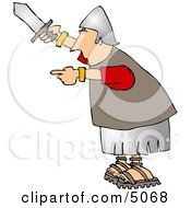 Roman Army Soldier Holding A Knife Clipart