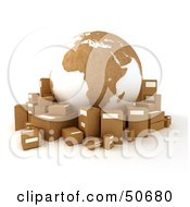Cardboard Globe Surrounded By Shipping Parcels Version 2
