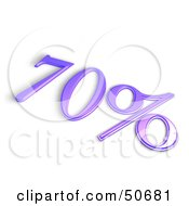Royalty Free RF 3D Clipart Illustration Of A Purple 3d 70 Percent Off Or Interest Sign by MacX