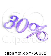 Royalty Free RF 3D Clipart Illustration Of A Purple 3d 30 Percent Off Or Interest Sign by MacX