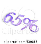 Purple 3d 65 Percent Off Or Interest Sign