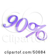 Purple 3d 90 Percent Off Or Interest Sign