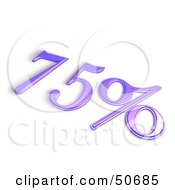 Royalty Free RF 3D Clipart Illustration Of A Purple 3d 75 Percent Off Or Interest Sign