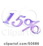 Royalty Free RF 3D Clipart Illustration Of A Purple 3d 15 Percent Off Or Interest Sign by MacX