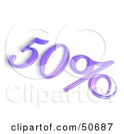 Purple 3d 50 Percent Off Or Interest Sign