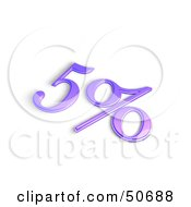 Royalty Free RF 3D Clipart Illustration Of A Purple 3d 5 Percent Off Or Interest Sign by MacX