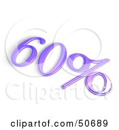 Royalty Free RF 3D Clipart Illustration Of A Purple 3d 60 Percent Off Or Interest Sign