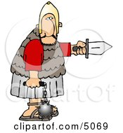 Roman Army Soldier Armed With A Knife And Flail Clipart