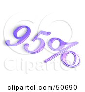 Royalty Free RF 3D Clipart Illustration Of A Purple 3d 95 Percent Off Or Interest Sign by MacX