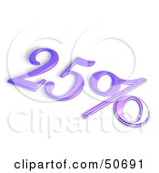 Royalty Free RF 3D Clipart Illustration Of A Purple 3d 25 Percent Off Or Interest Sign by MacX