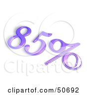 Royalty Free RF 3D Clipart Illustration Of A Purple 3d 85 Percent Off Or Interest Sign by MacX
