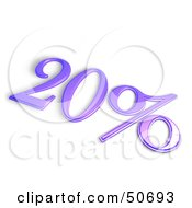 Royalty Free RF 3D Clipart Illustration Of A Purple 3d 20 Percent Off Or Interest Sign