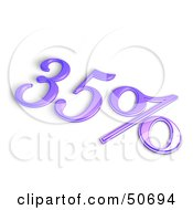 Royalty Free RF 3D Clipart Illustration Of A Purple 3d 35 Percent Off Or Interest Sign by MacX