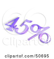 Royalty Free RF 3D Clipart Illustration Of A Purple 3d 45 Percent Off Or Interest Sign