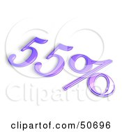 Royalty Free RF 3D Clipart Illustration Of A Purple 3d 55 Percent Off Or Interest Sign