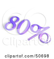 Royalty Free RF 3D Clipart Illustration Of A Purple 3d 80 Percent Off Or Interest Sign by MacX