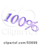 Royalty Free RF 3D Clipart Illustration Of A Purple 3d 100 Percent Off Or Interest Sign by MacX