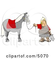 Roman Army Soldier Standing With A Horse Clipart