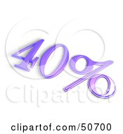 Royalty Free RF 3D Clipart Illustration Of A Purple 3d 40 Percent Off Or Interest Sign