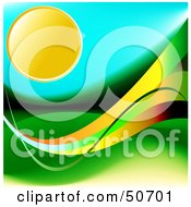 Royalty Free RF Clipart Illustration Of A Hot Sun In A Turquoise Sky Over Hills With Colorful Waves