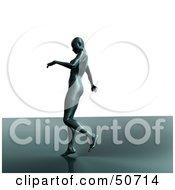 Futuristic Woman Walking On A Shiny Surface