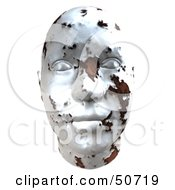 Rusting White Metal Human Head Looking Forward