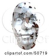 Rusting White Metal Human Head Looking Forward
