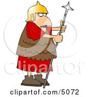 Roman Army Soldier Armed With A Spear Clipart