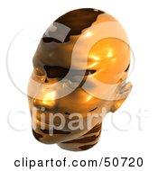 Melting Gold Metal Human Head Looking Left
