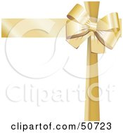 Royalty Free RF Clipart Illustration Of A Gold Ribbon And Bow Around A White Gift by MacX #COLLC50723-0098