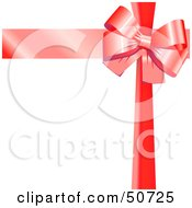 Royalty Free RF Clipart Illustration Of A Red Ribbon And Bow Around A White Gift