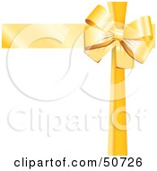 Royalty Free RF Clipart Illustration Of A Yellow Ribbon And Bow Around A White Gift