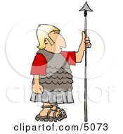 Roman Soldier Holding A Spear Clipart by djart