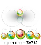 Royalty Free RF Clipart Illustration Of A Leading Colorful Marble In Front Of A Row Of Others