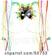 Royalty Free RF Clipart Illustration Of A Mardi Gras Mask On A White Background With Borders Of Confetti And Ribbons