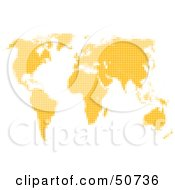 Royalty Free RF Clipart Illustration Of A Yellow Pixel World Atlas Map