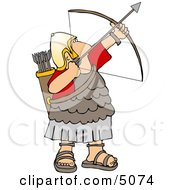 Roman Army Soldier Shooting A Bow And Arrow Clipart