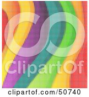 Royalty Free RF Clipart Illustration Of A Wavy Rainbow Pixel Background by MacX