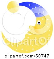Royalty Free RF Clipart Illustration Of A Friendly Yellow Moon With A Star Pattern Wearing A Blue Cap by MacX