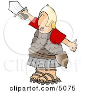 Roman Army Soldier Going Into Battle With A Sword