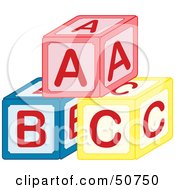 Royalty Free RF Clipart Illustration Of A Pyramid Of Red Blue And Yellow ABC Blocks by Cherie Reve