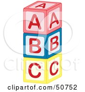 Royalty Free RF Clipart Illustration Of A Tower Of Red Blue And Yellow ABC Blocks by Cherie Reve