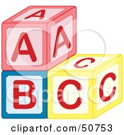 Royalty Free RF Clipart Illustration Of A Stack Of Red Blue And Yellow ABC Blocks by Cherie Reve